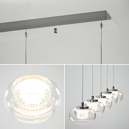 5-Lichts hanglamp chroom met helder glas en dimbaar LED
