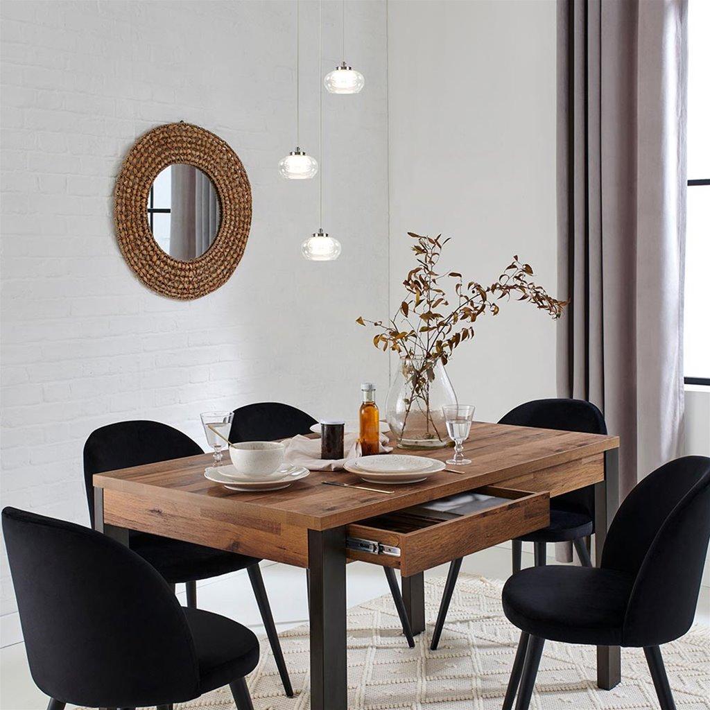 3-Standen dimbare LED hanglamp helder glas met chroom