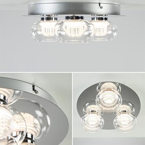 3-Lichts LED plafondlamp chroom met helder glas