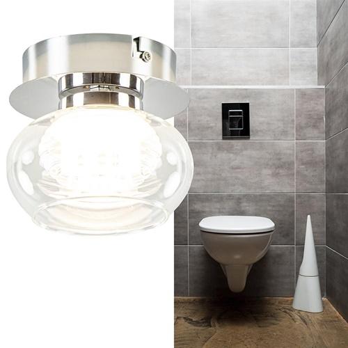 Chromen plafondlamp met helder glas incl. LED
