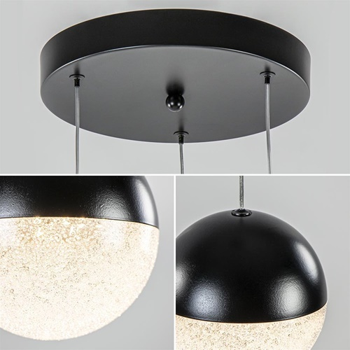 Ronde 3-Lichts LED hanglamp met zwarte bollen dimbaar