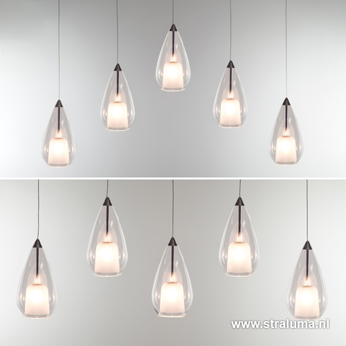 Verstelbare hanglamp eettafel glas 5 l straluma for Hanglamp eettafel