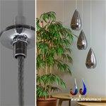 *Glazen hanglamp rond en verstelbaar 3-L