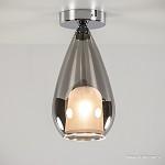 *Plafondlamp smokey glas met chroom