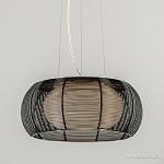 *Hanglamp zwart draad met wit glas 40cm