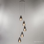 *Smokey glazen vide-hanglamp chroom