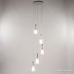 *Ronde vide-hanglamp 5-lichts glas 3 mtr