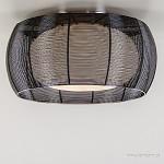 *Plafondlamp draad zwart/glas wit 50cm