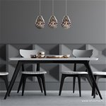 *Hanglamp smokey glas met chroom 3-licht