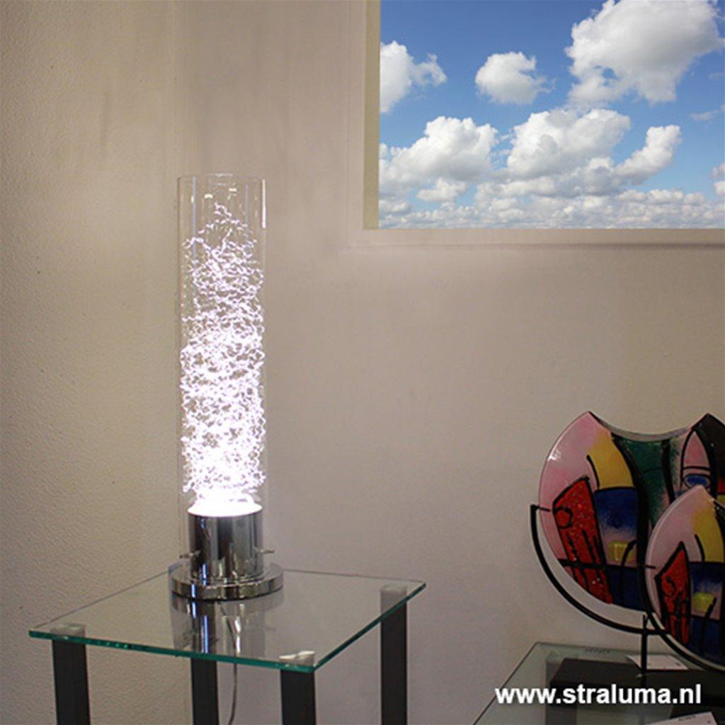 Moderne tafellamp glas met zilverdraad