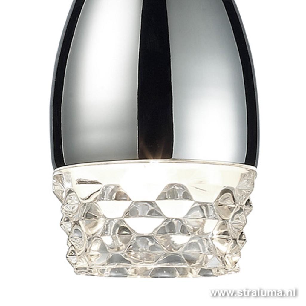 *Tijdloze hanglamp glas-chroom 4-lichts