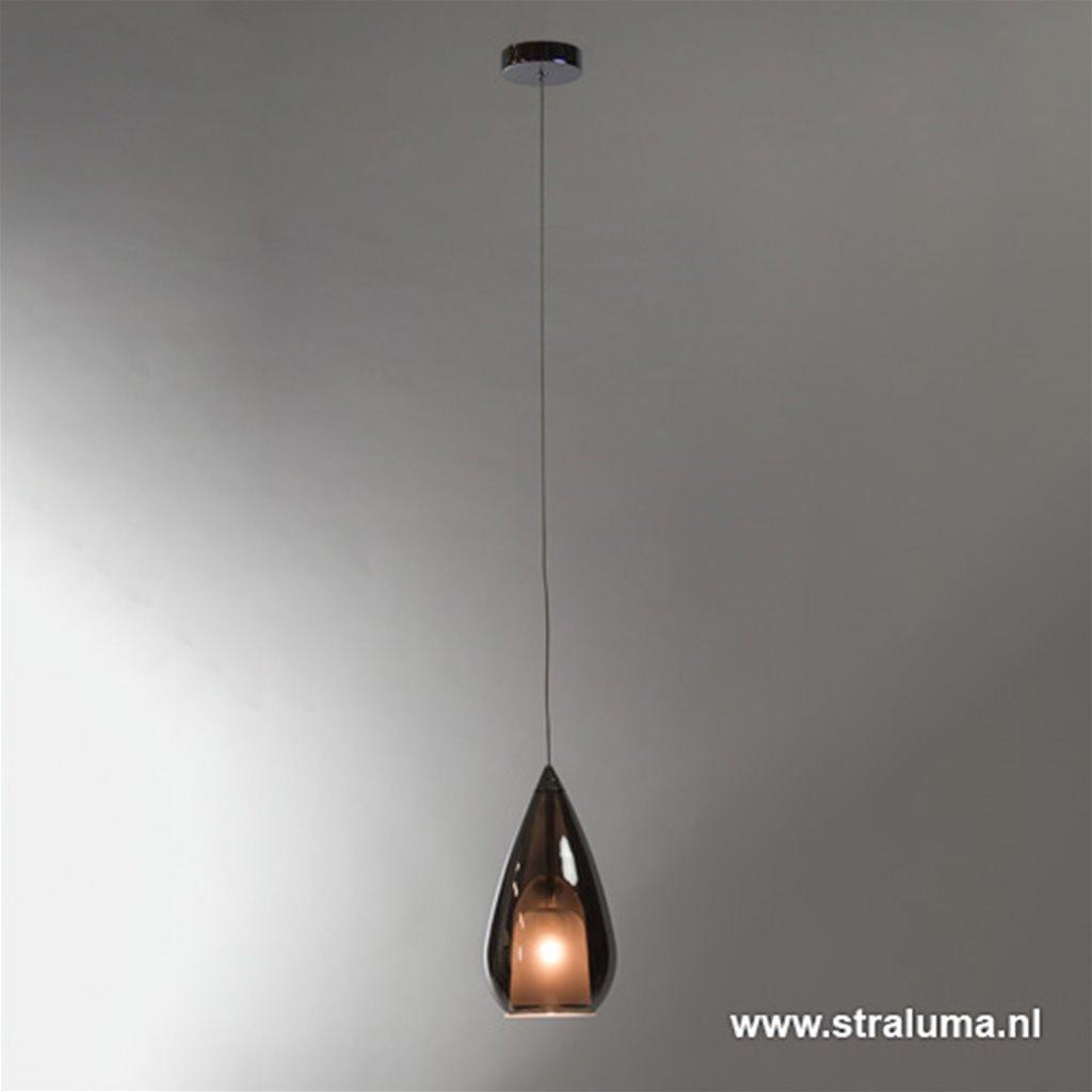 Aanbieding kleine hanglamp glas 'Smoke'