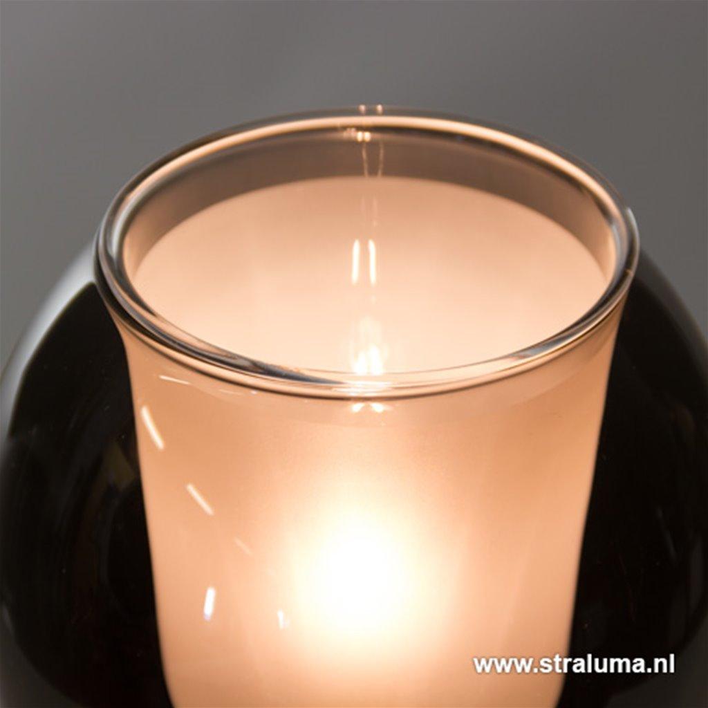 *Luxe glazen tafellamp 'Smokey'