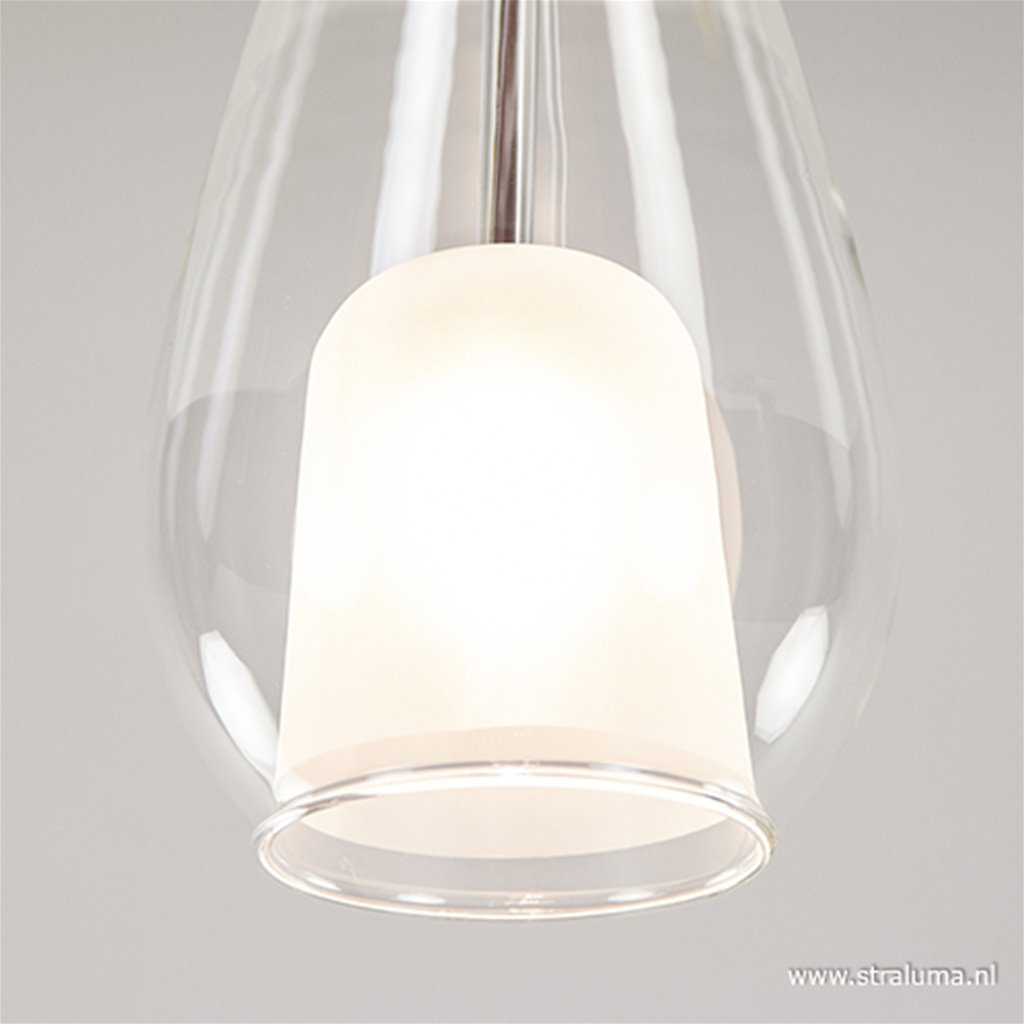 Plafondlamp druppel chr/helder glas