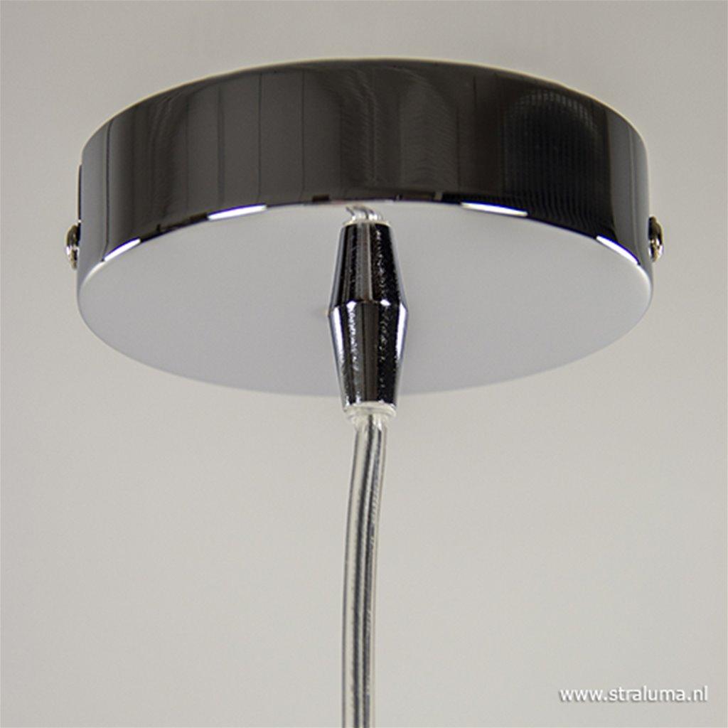 Glazen hanglamp smoke met chroom.