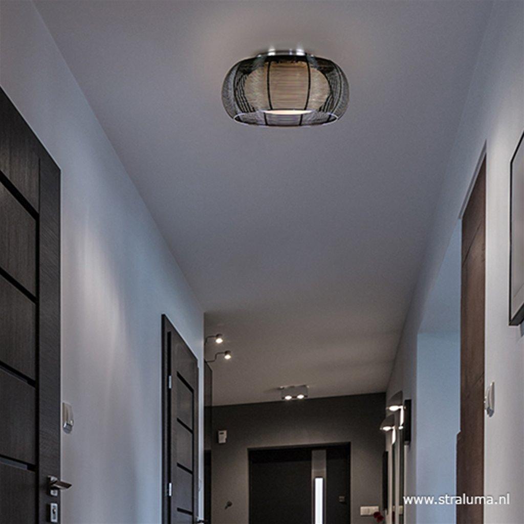 Ronde zwarte draad plafondlamp met glas