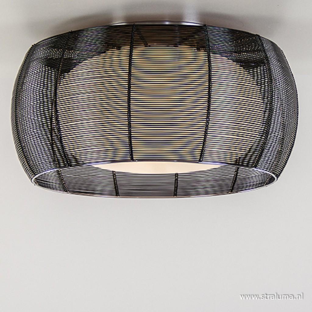 Plafondlamp draad zwart/glas wit 50cm