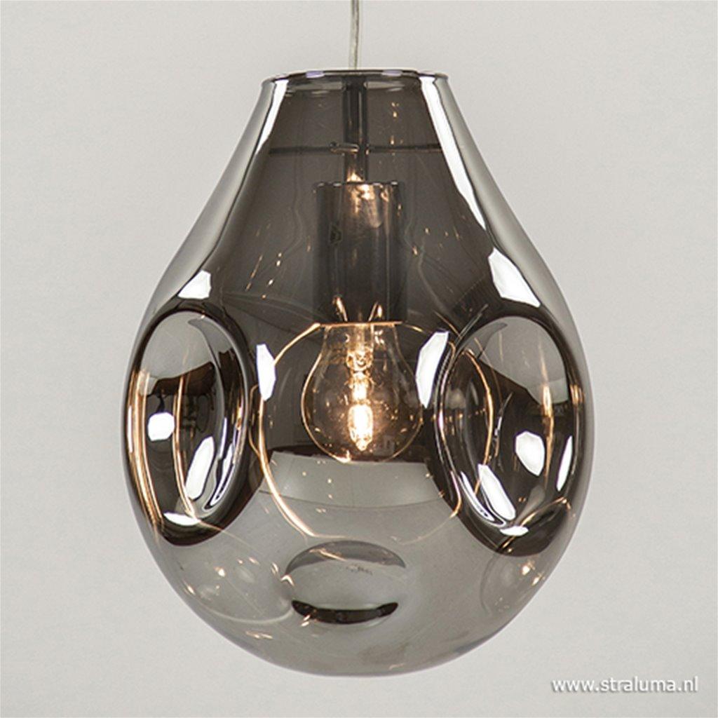 Ronde hanglamp met smokey glas 3-lichts