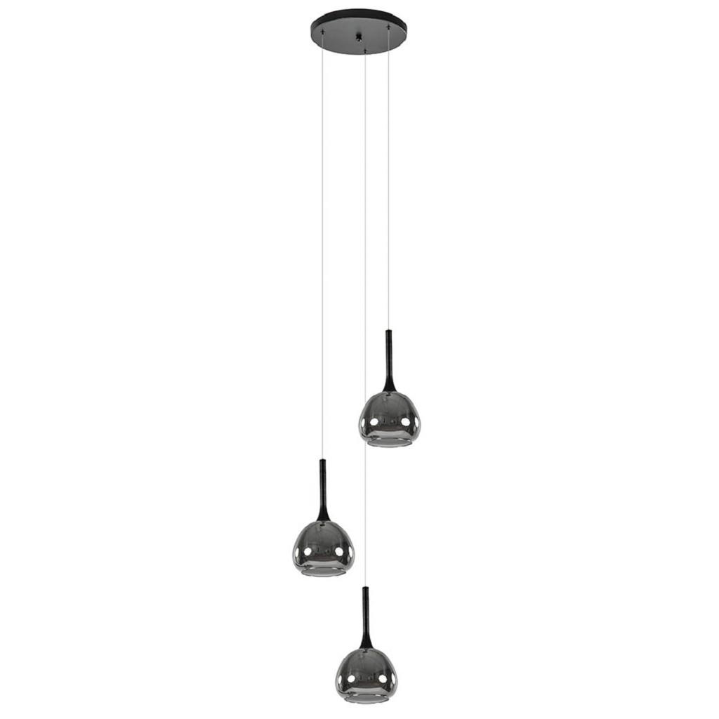 Ronde 3-lichts hanglamp zwart met smoke glas