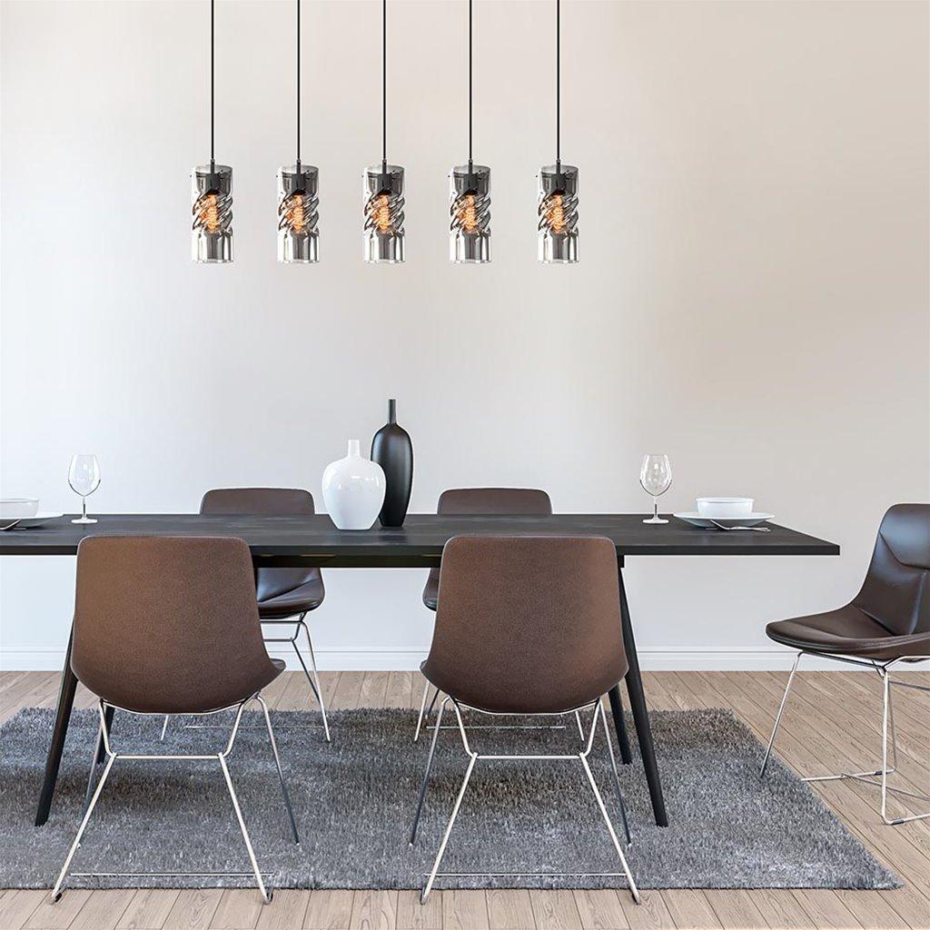 5-Lichts eettafelhanglamp zwart met smoke glas