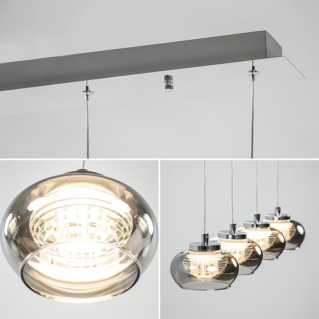 4-Lichts LED hanglamp chroom met smoke glas 3-standen dimbaar