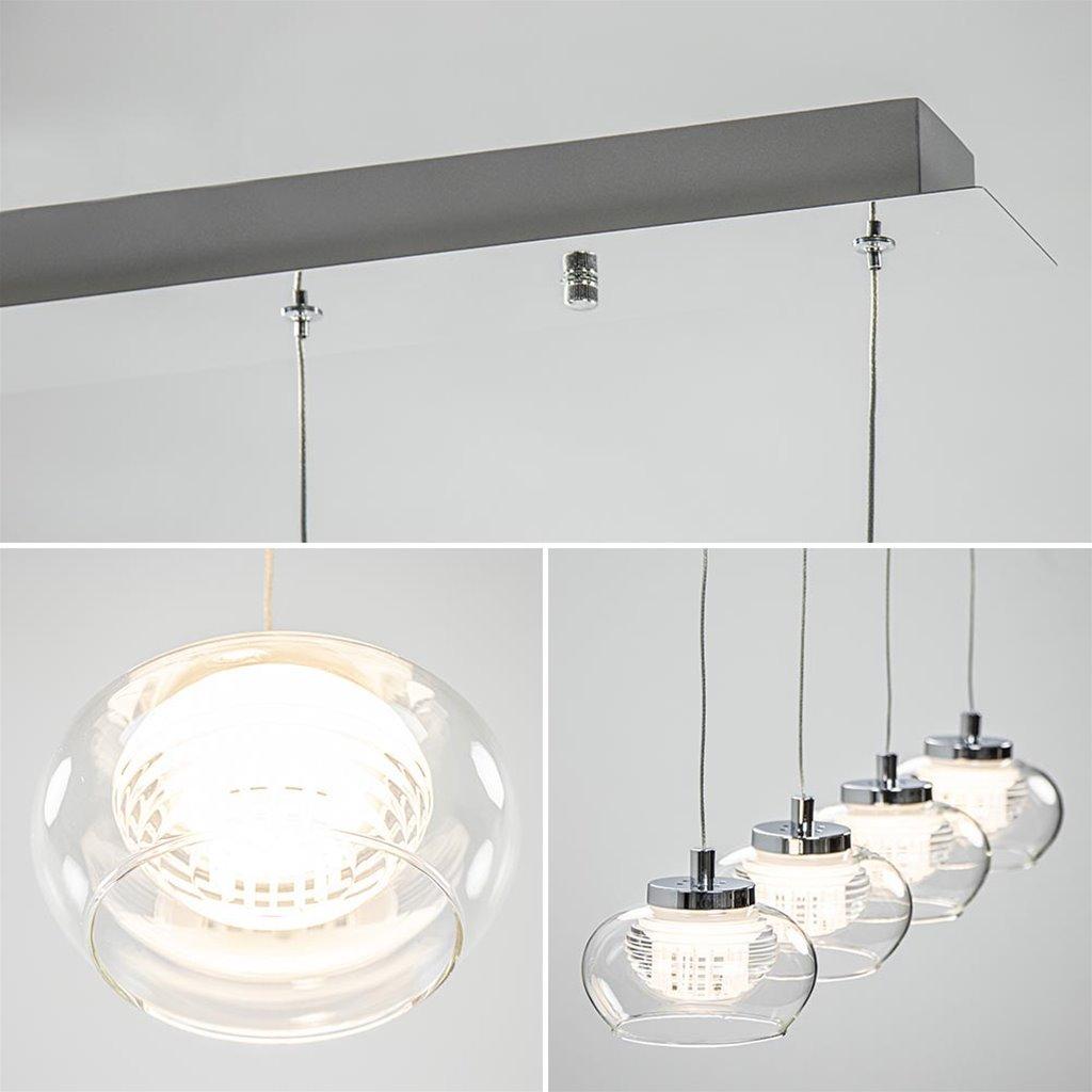 Dimbare LED hanglamp chroom met helder glas