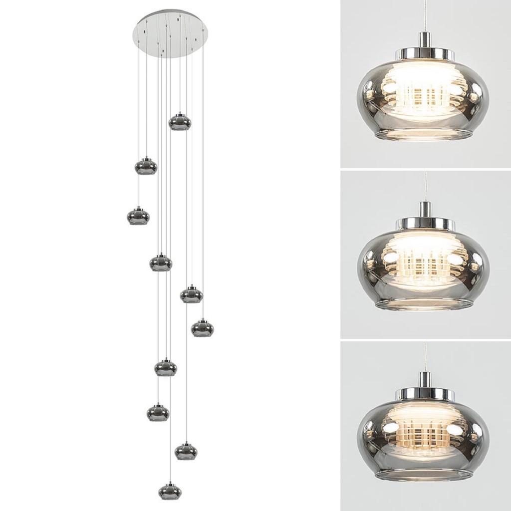 10-Lichts videlamp chroom/smoke glas inclusief dimbaar LED