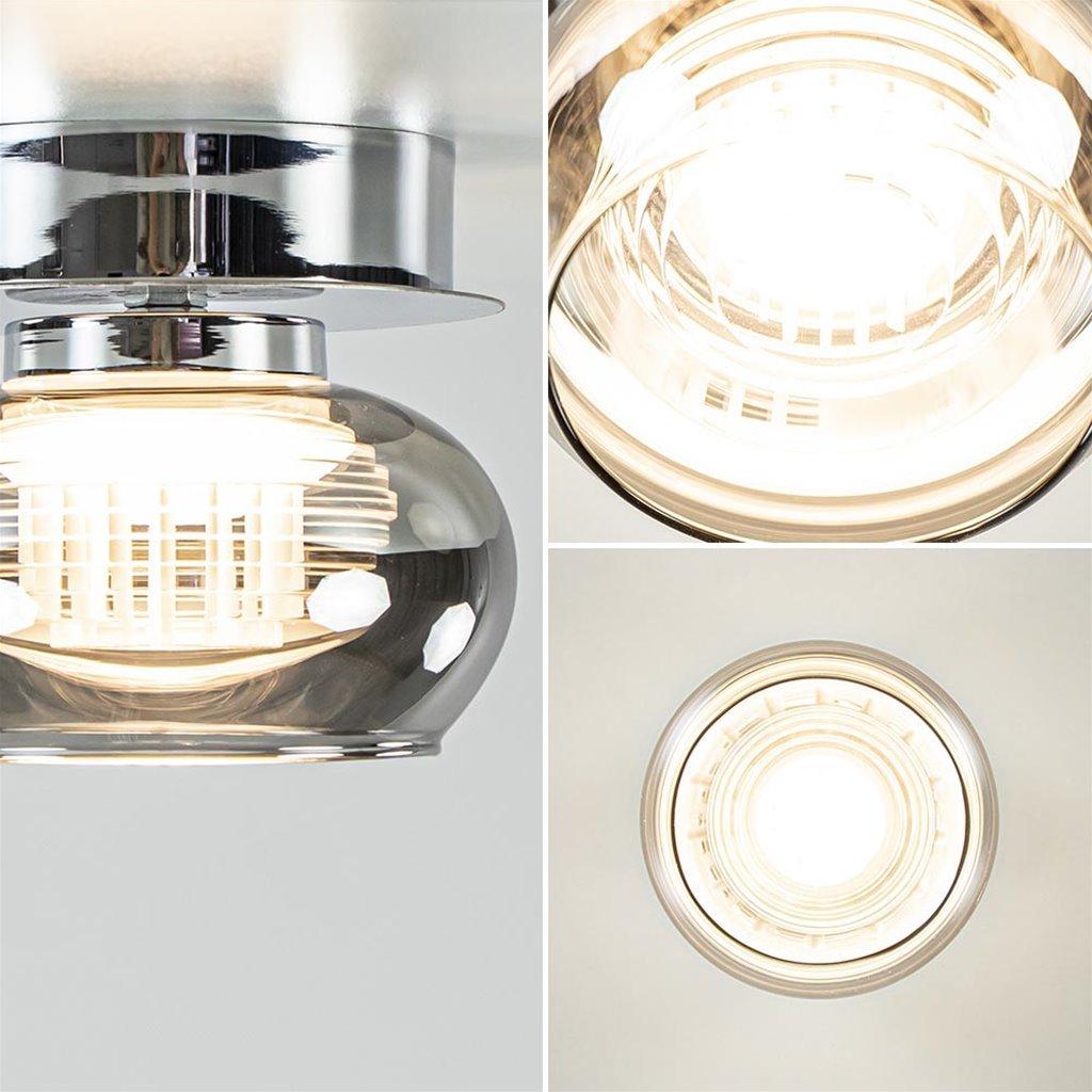 Plafondlamp klein chroom met smoke glas