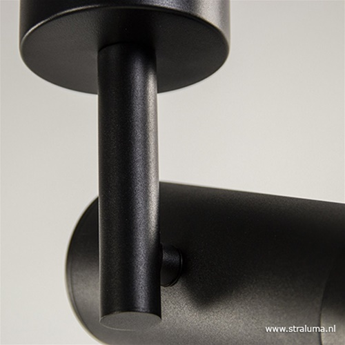 Plafondspot tube zwart verstelbaaar