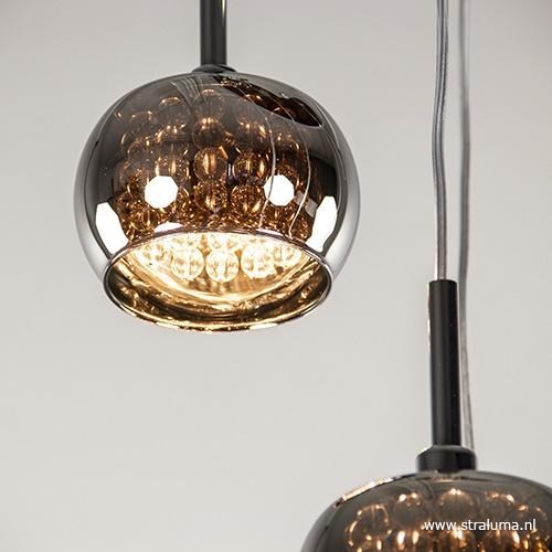 Ronde hanglamp Pearl chroom/smokey glas