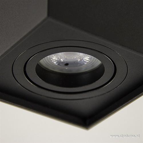 *Plafondspot kubus zwart kantelbaar gu10