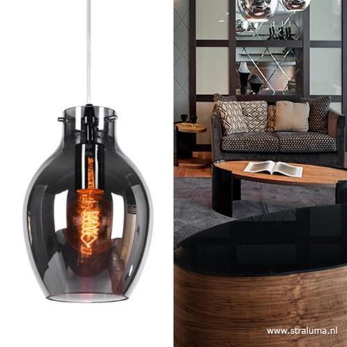 Kleine glazen hanglamp smokey