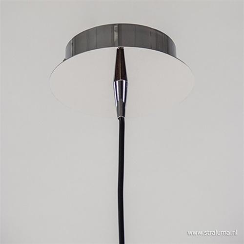 Glazen hanglamp met chroom smokey
