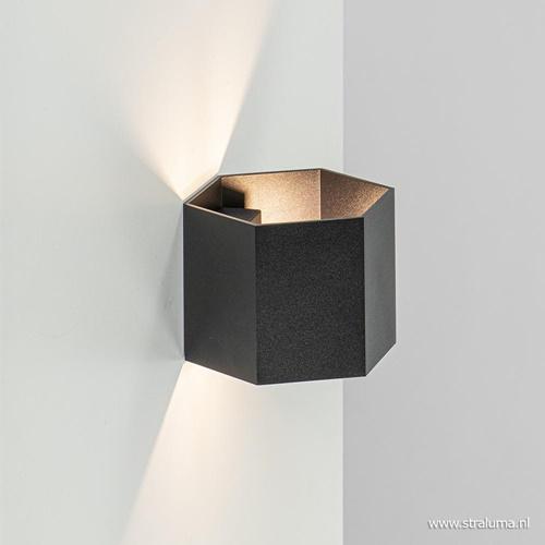 Moderne wandlamp up+down lighter zwart