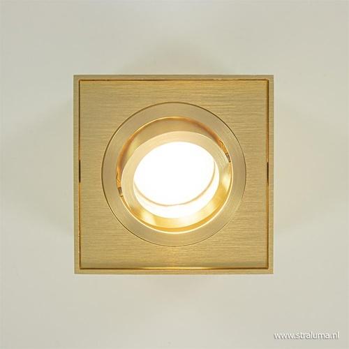 Vierkante opbouwspot goud met kantelbare spot