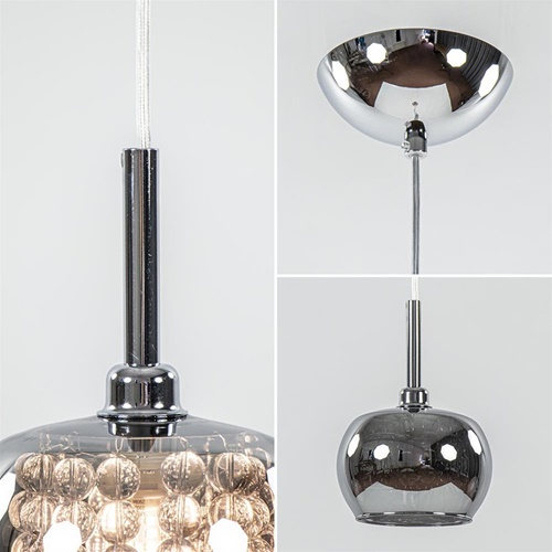 Hanglamp Pearl klein chroom + smoke glas