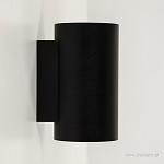 *Zwarte wandlamp rond up-en downlighter