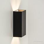 *Wandlamp zwart rechthoek up+down 2xg9