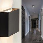 *Wandlamp rechthoek zwart up+down 2xg9