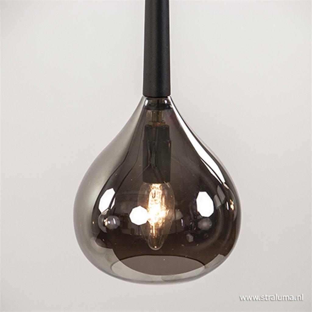 *Hanglamp 3-lichts chroom/smokey glazen