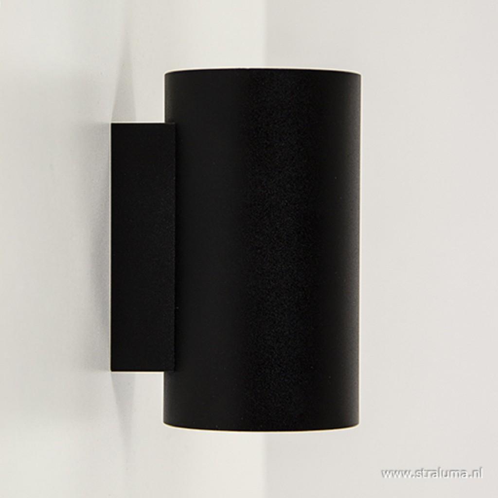 *Wandlamp cilinder zwart up+down gu10