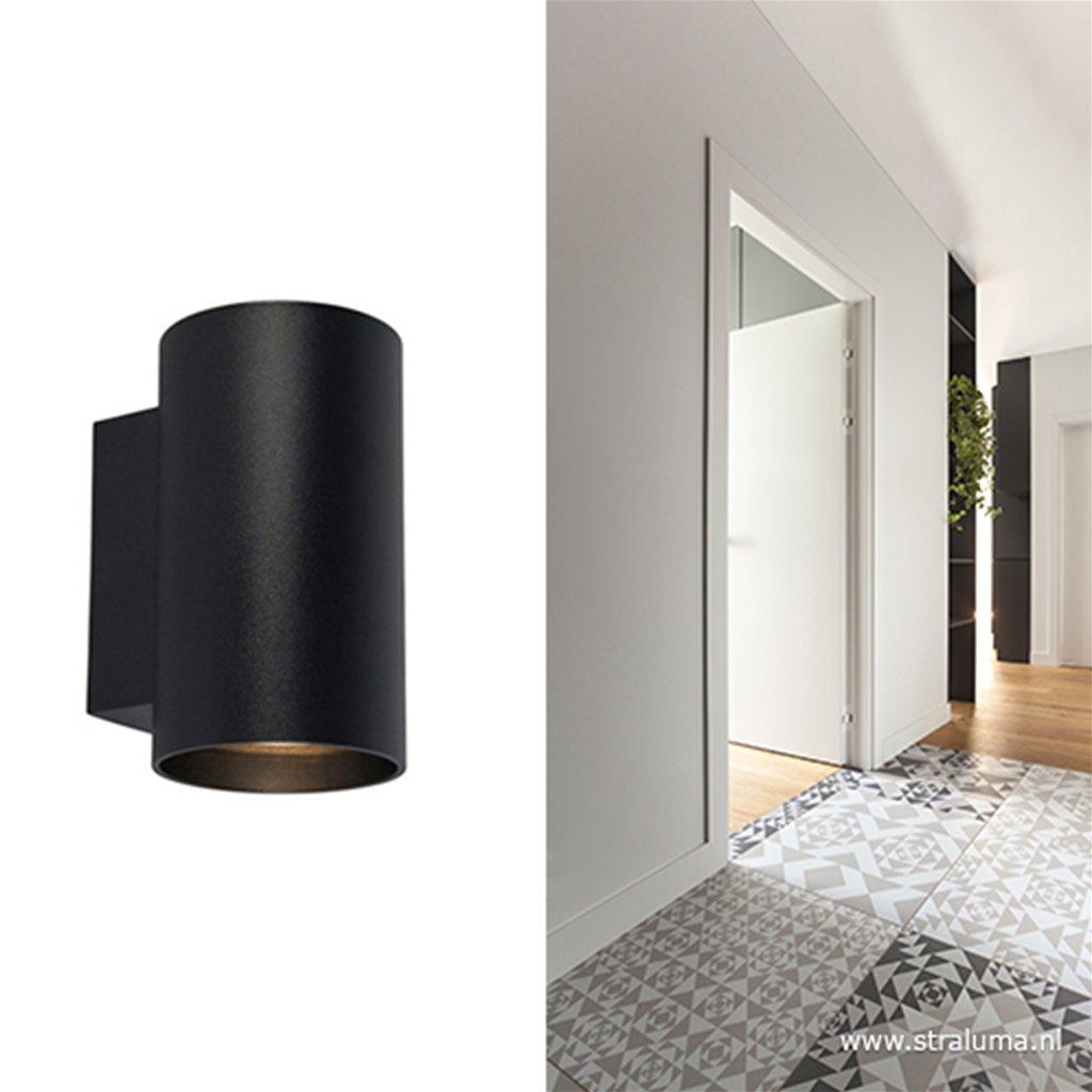 Wandlamp cilinder zwart up+down gu10