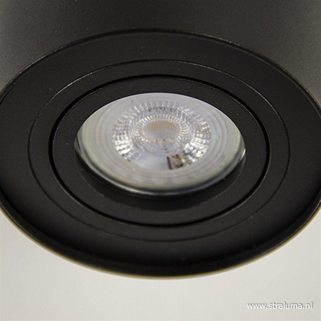 Plafondspot cilinder zwart verstelbaar