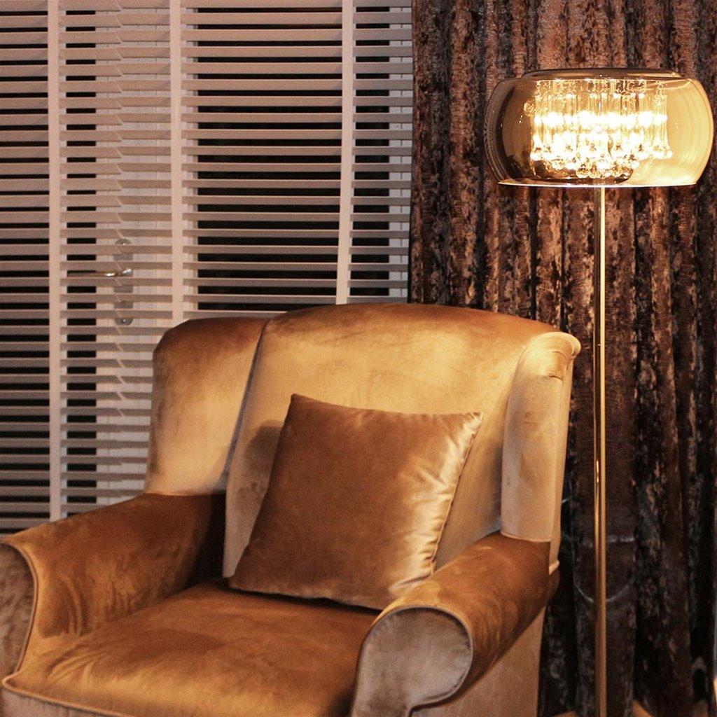*Luxe vloerlamp Pearl chroom met glas