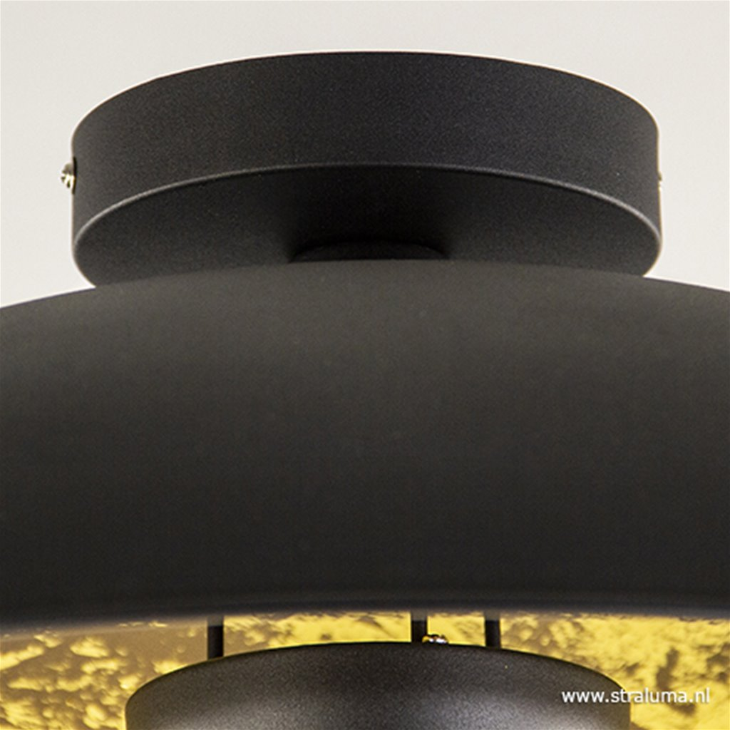 Grote zwarte plafonnière met goud