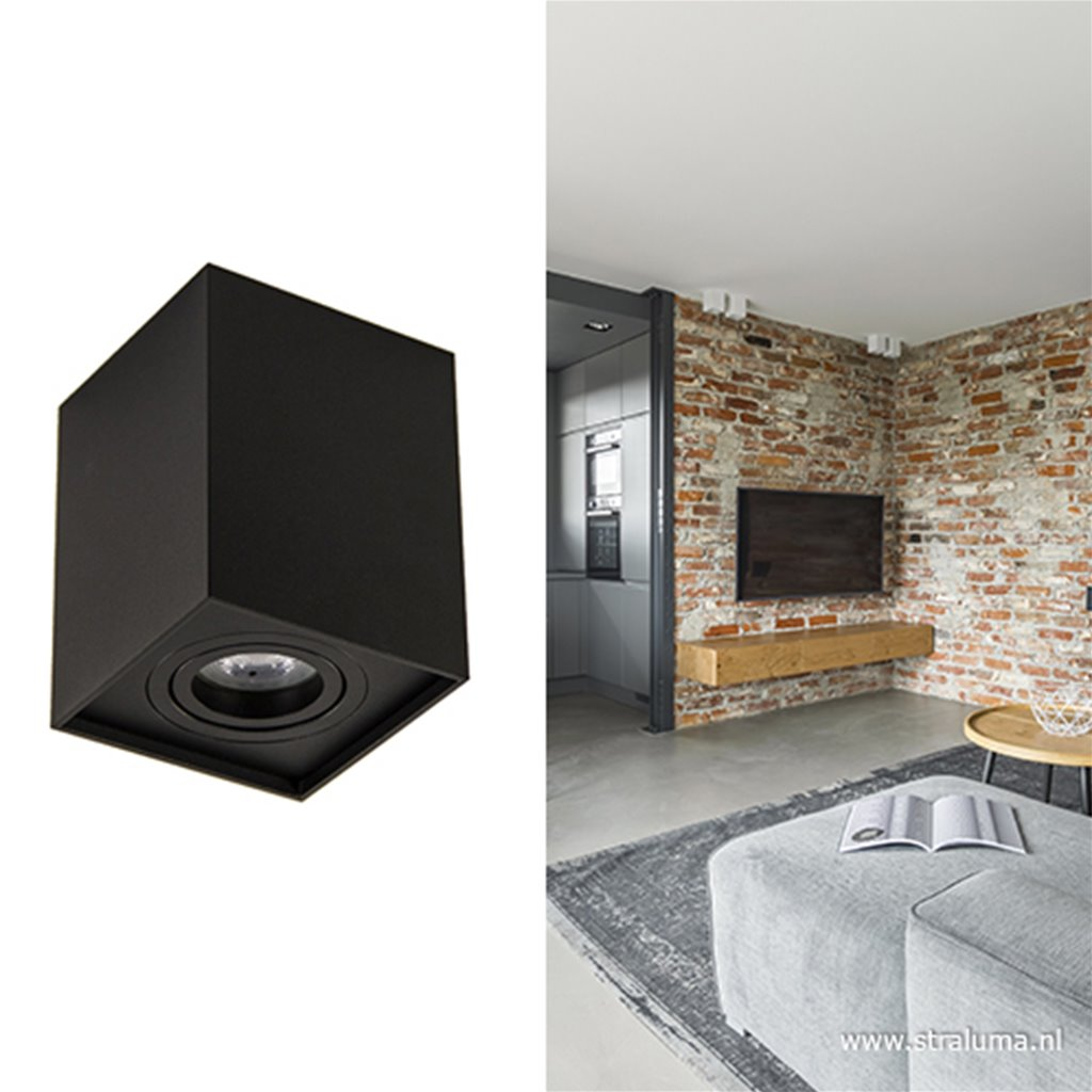 Plafondspot kubus zwart gu10