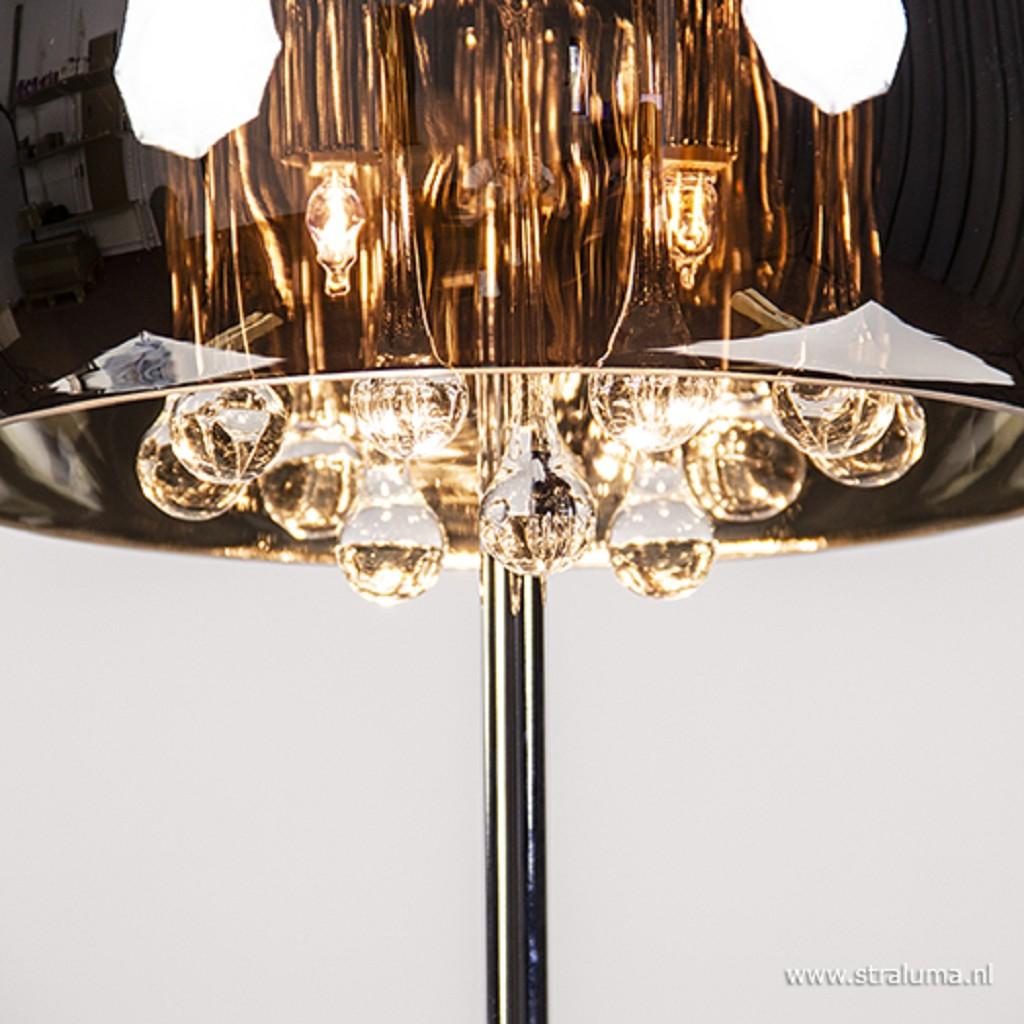 *Glazen tafellamp Pearl met chroom