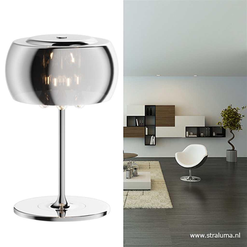 Glazen tafellamp Pearl met chroom