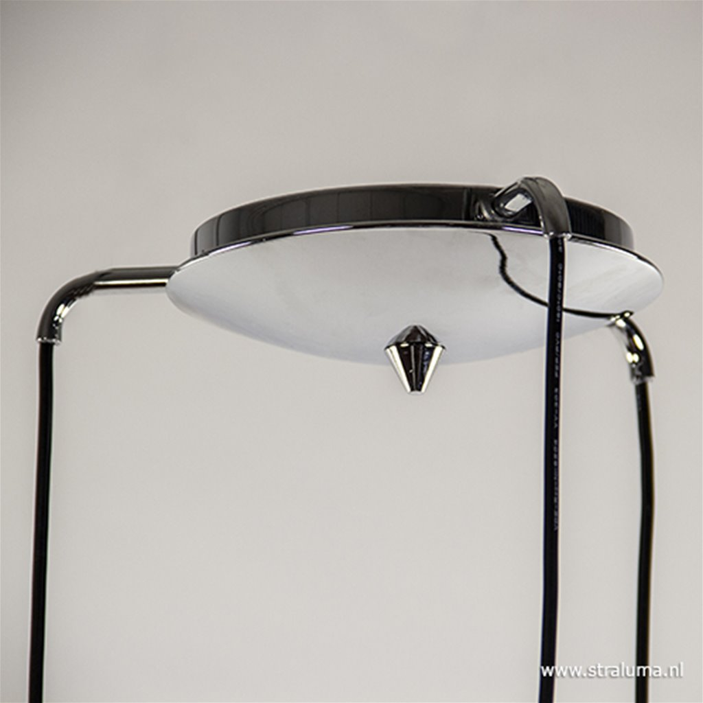 *Smokey glazen hanglamp rond met chroom