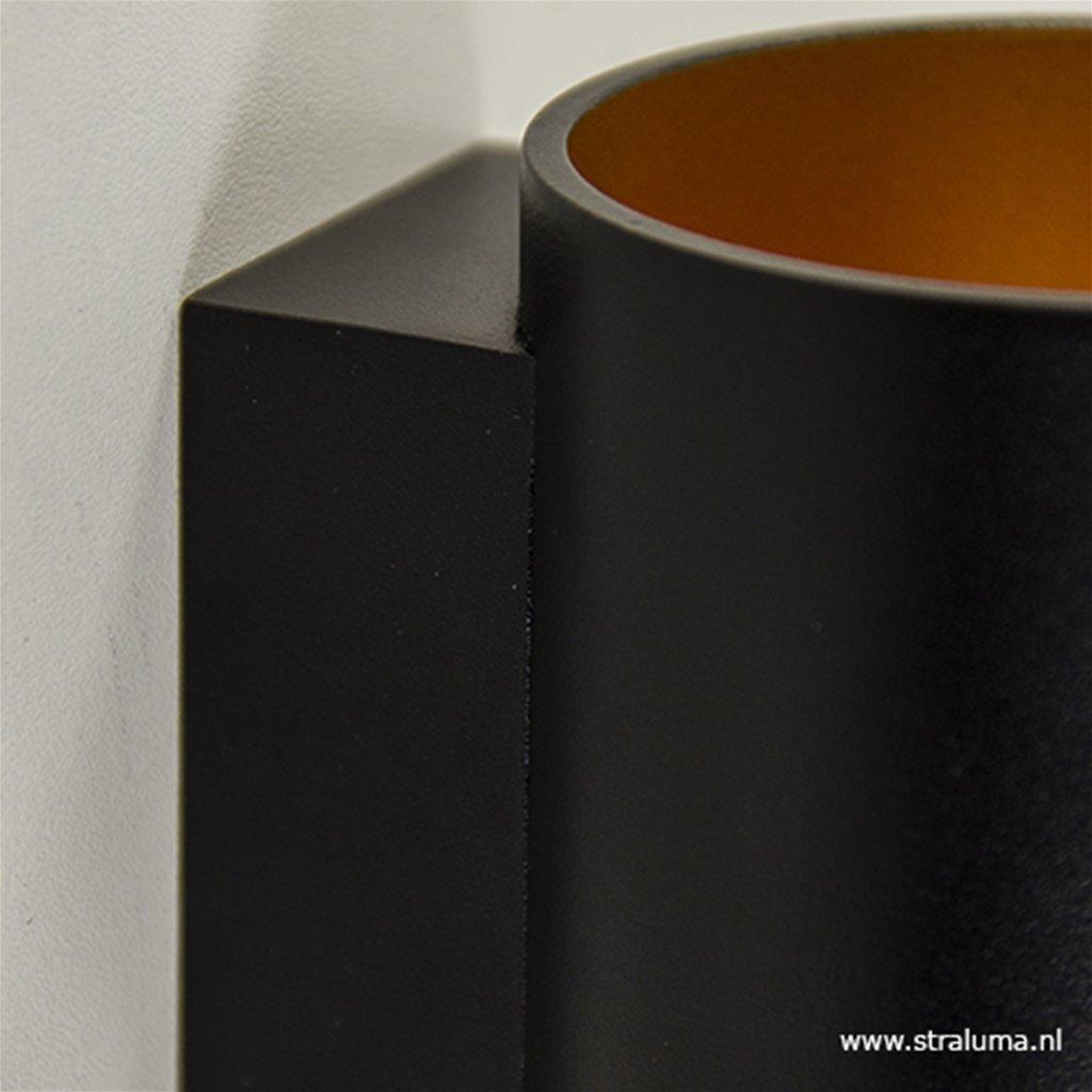 Wandlamp cilinder zwart/goud
